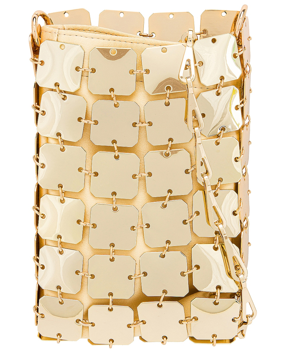 Image 1 of PACO RABANNE Iconic Mini Square 1969 Bag in Light Gold