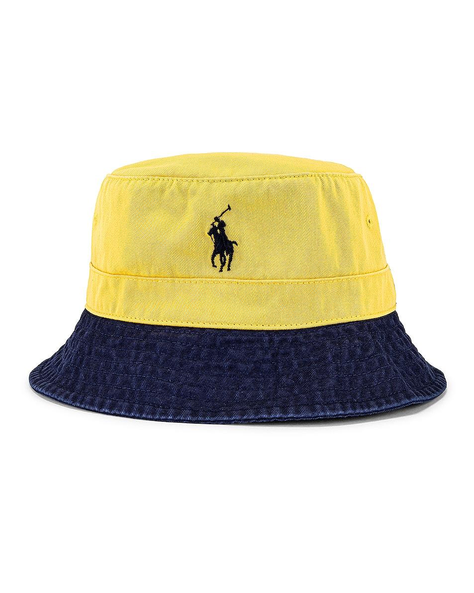 Image 1 of Polo Ralph Lauren Bucket Hat in Yellow & Newport Navy