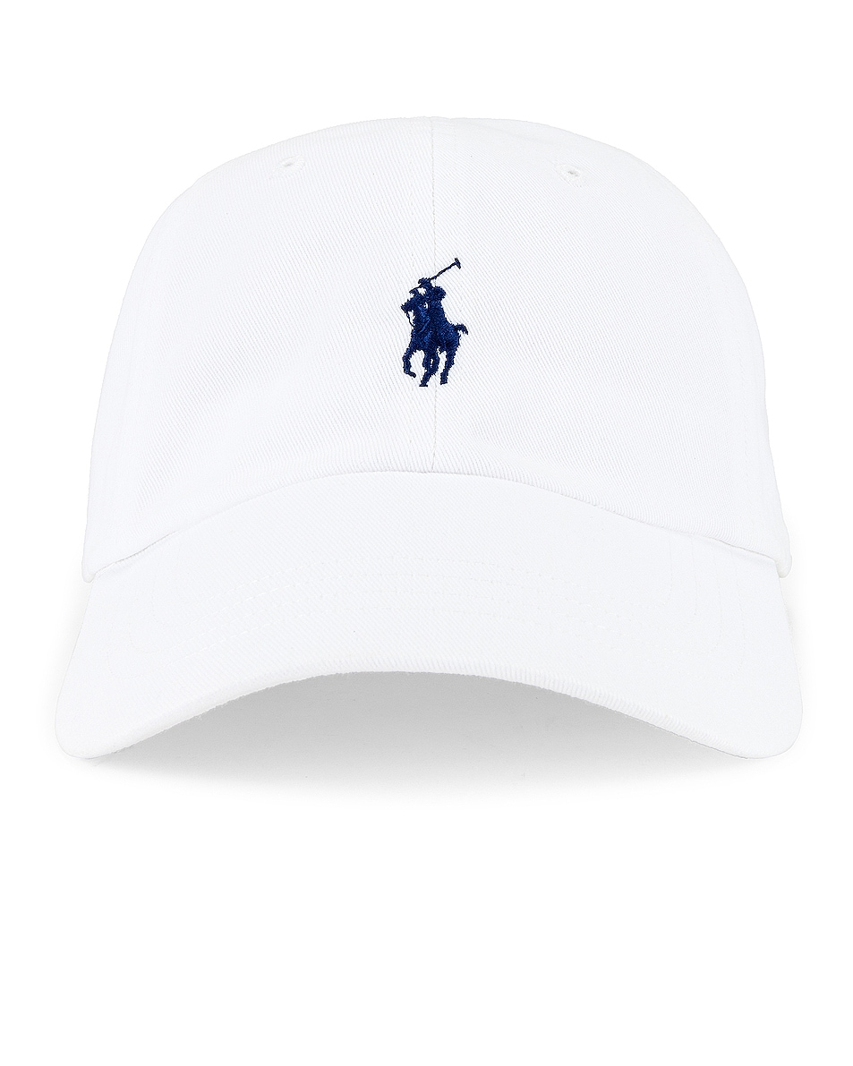 Image 1 of Polo Ralph Lauren Chino Cap in White & Marlin Blue