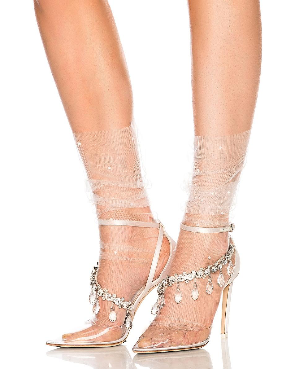 Image 1 of Pan & The Dream Swarovski Superfine Italian Nylon Tulle Socks in White & White Pearls