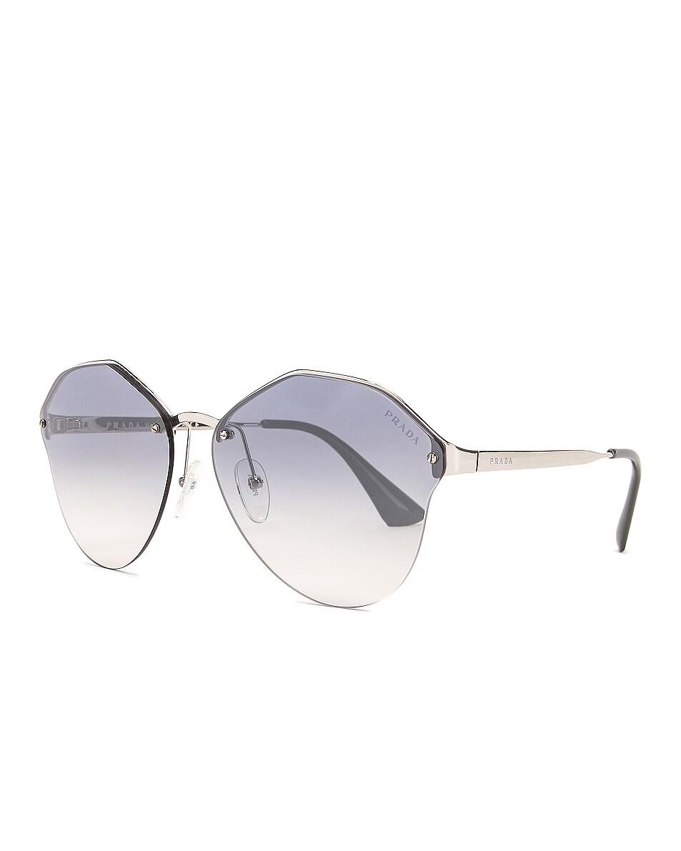 Image 2 of Prada Mirrored Round Sunglasses in Grey