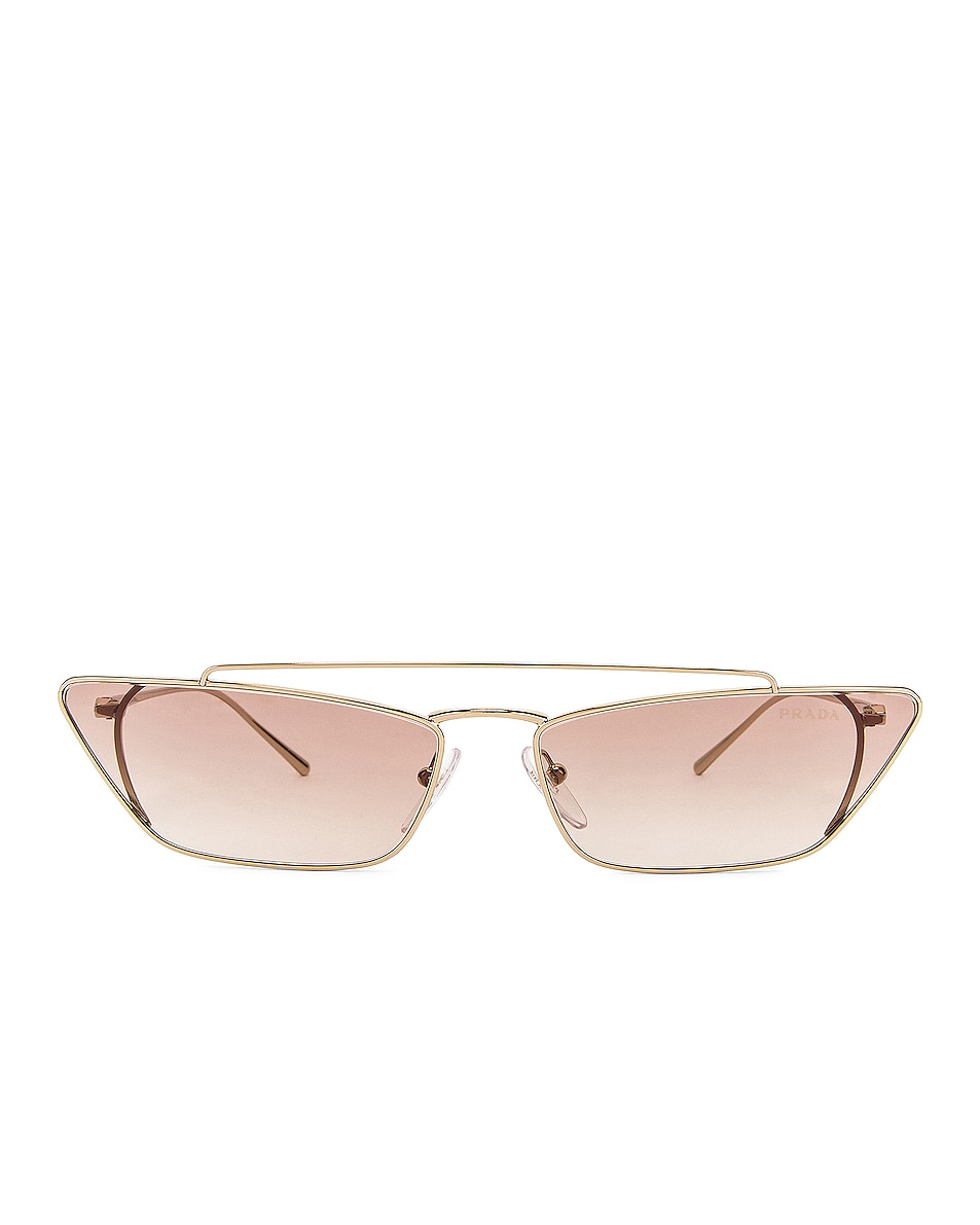 Image 1 of Prada Rectangular Cat Eye Sunglasses in Brown