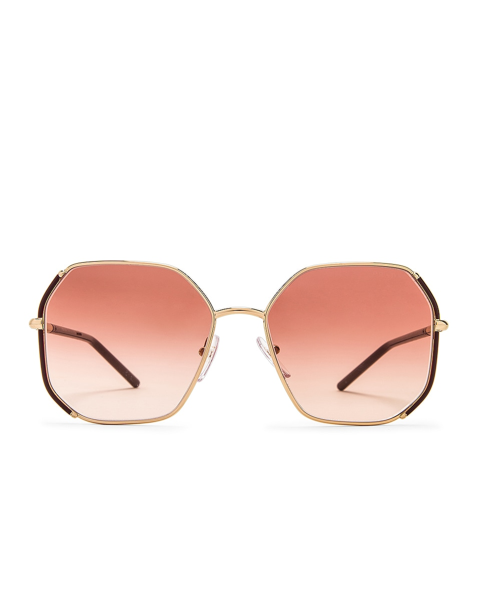 Image 1 of Prada Metal Oversize Square Sunglasses in Purple Red Gradient & Gold