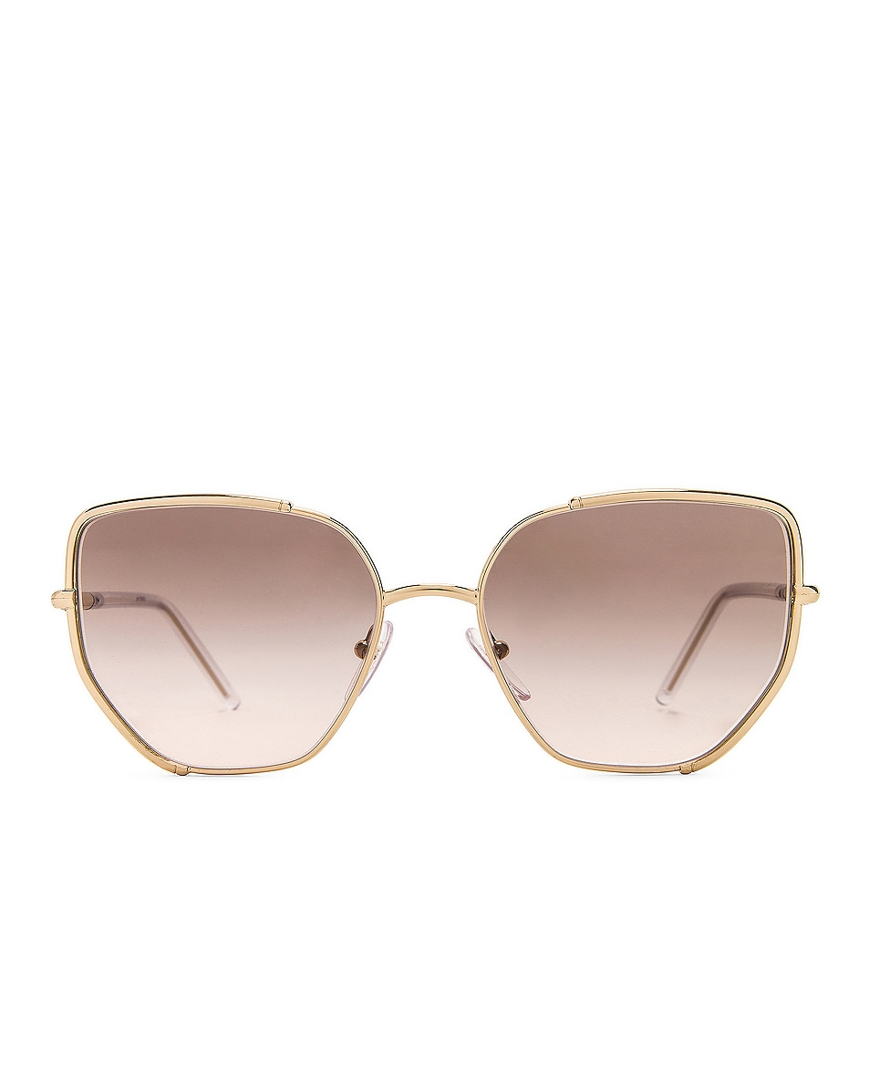 Image 1 of Prada Metal Angular Sunglasses in Pale Gold & Grey Gradient
