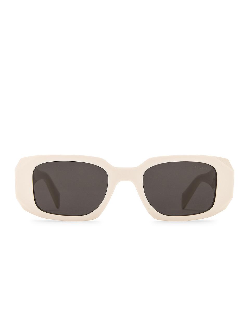 Image 1 of Prada Scultoreo Narrow Sunglasses in White & Dark Grey