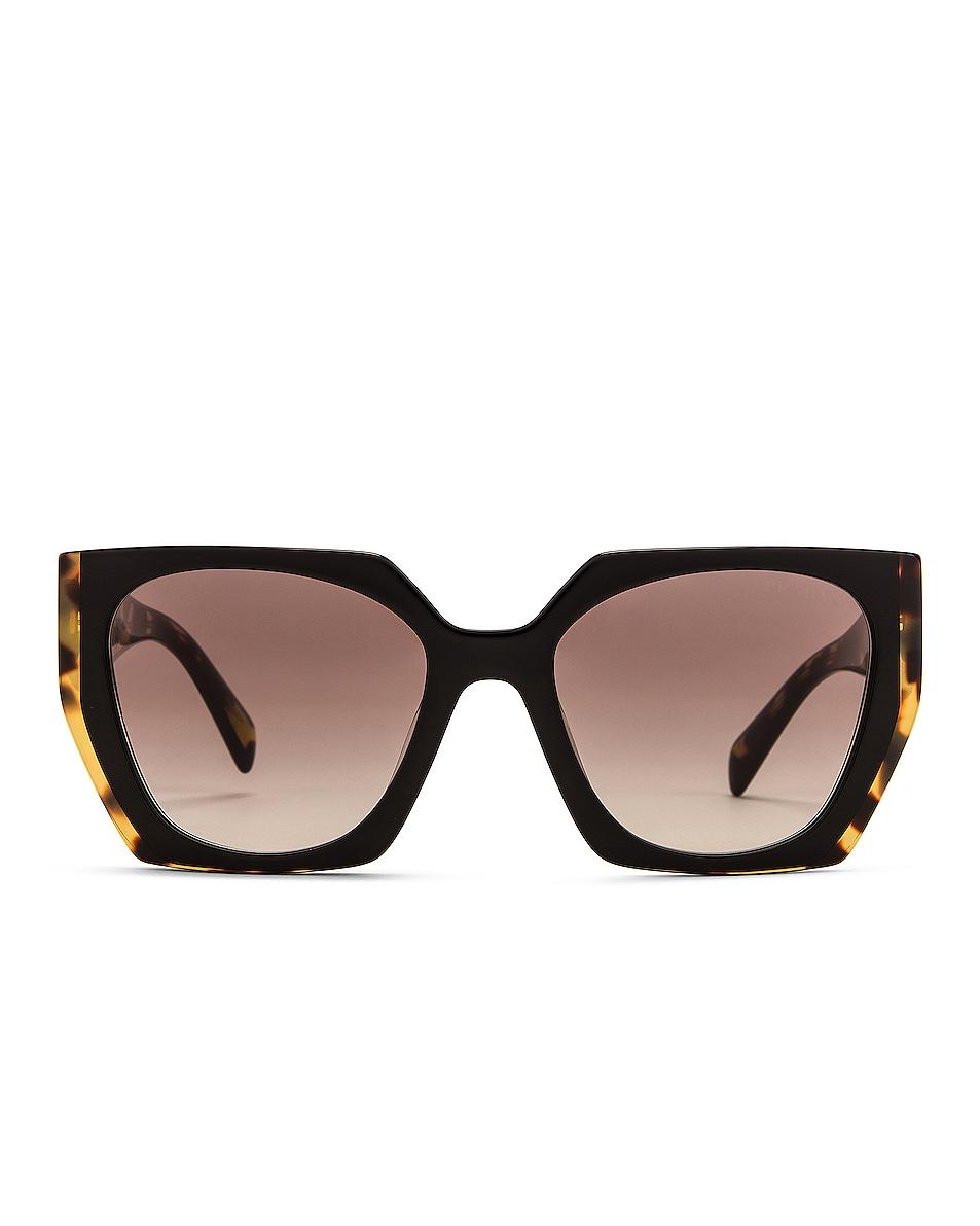 Image 1 of Prada Painted Temple Square Sunglasses in Black Medium Tortoise & Grey Gradient