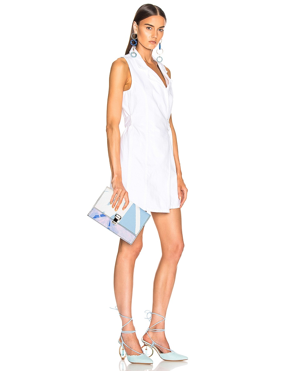 Image 2 of Proenza Schouler Denim Tie Dye Small Lunch Bag in Baby Blue & Lilac