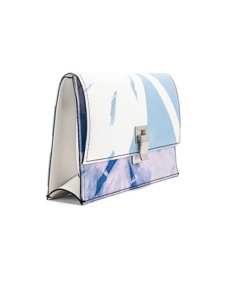 Image 4 of Proenza Schouler Denim Tie Dye Small Lunch Bag in Baby Blue & Lilac