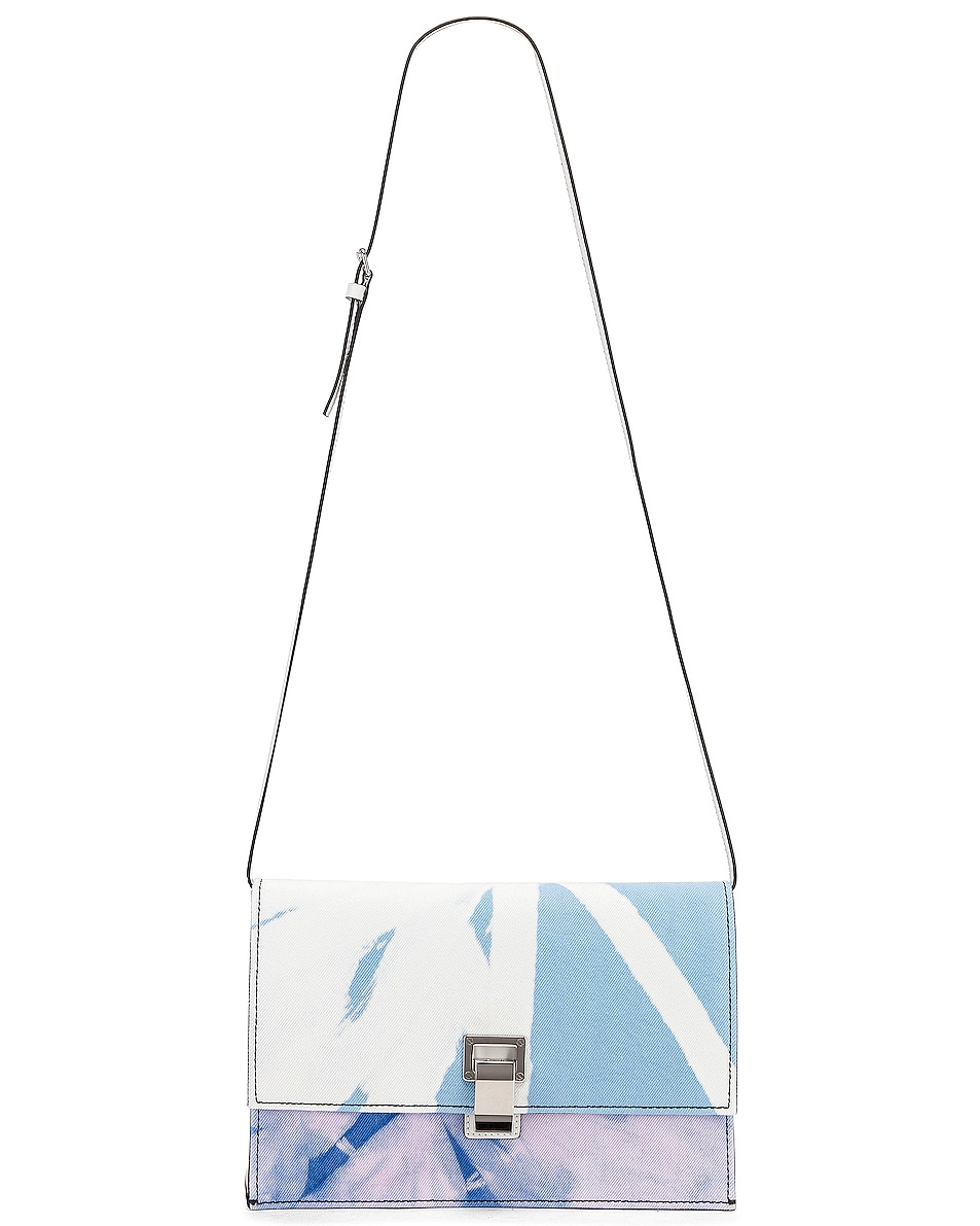 Image 6 of Proenza Schouler Denim Tie Dye Small Lunch Bag in Baby Blue & Lilac