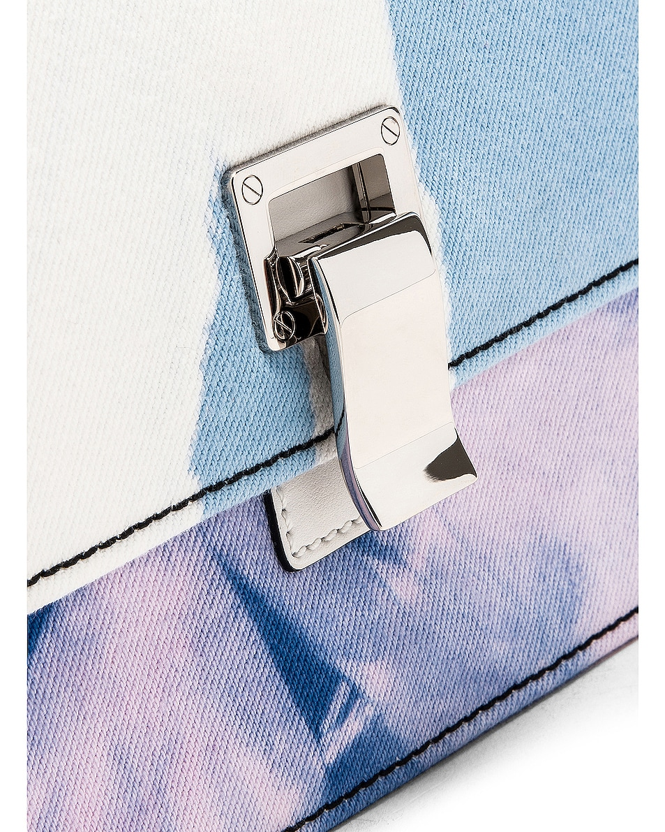Image 8 of Proenza Schouler Denim Tie Dye Small Lunch Bag in Baby Blue & Lilac