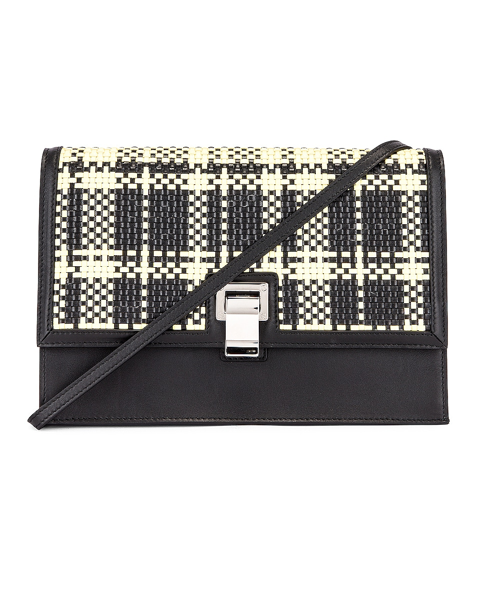 Image 1 of Proenza Schouler Plaid Lunch Bag in Black & Butter Toast