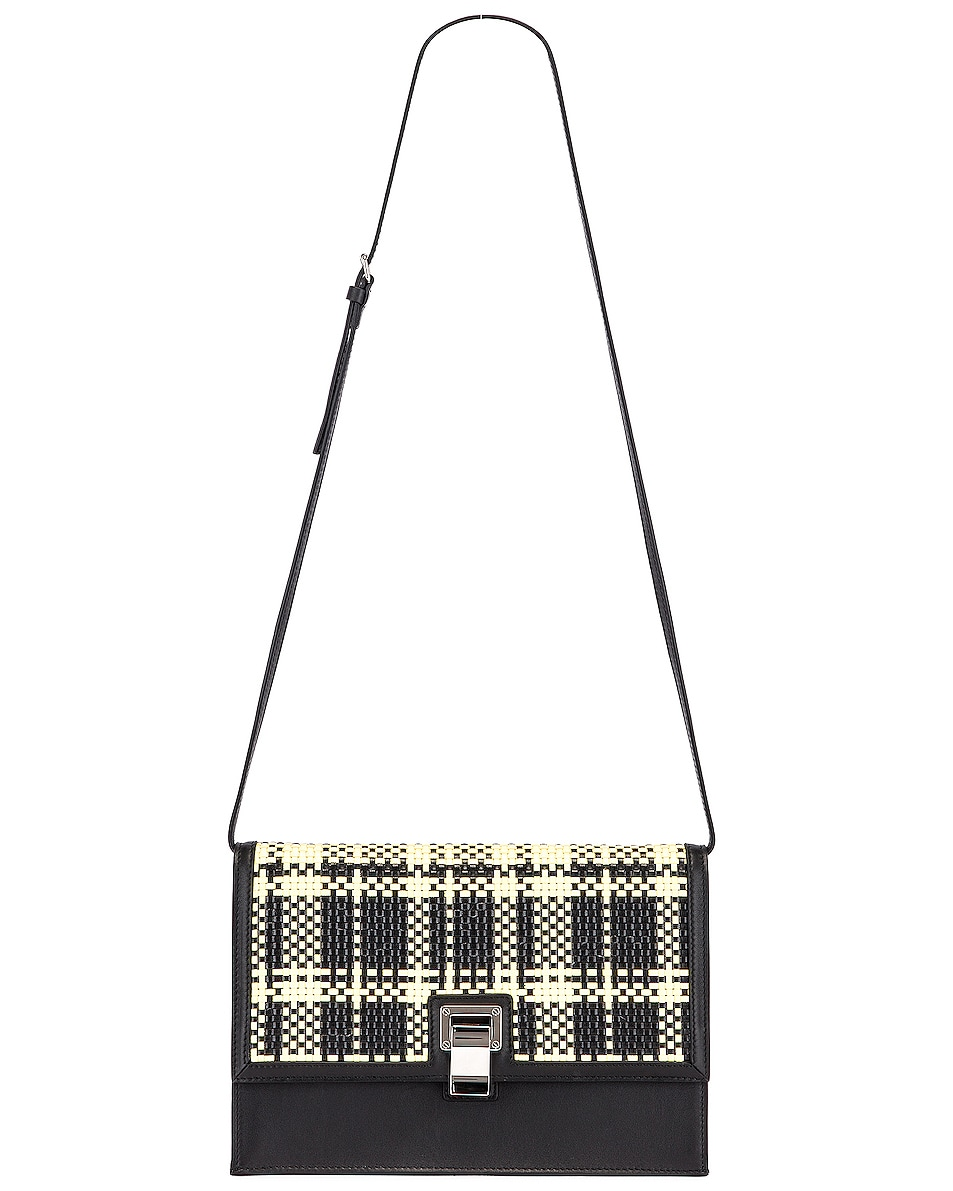 Image 6 of Proenza Schouler Plaid Lunch Bag in Black & Butter Toast
