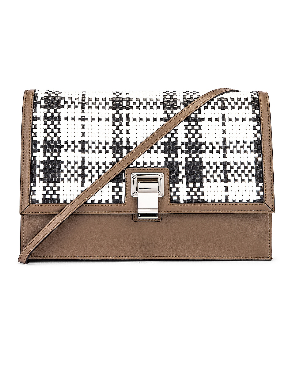 Image 1 of Proenza Schouler Plaid Lunch Bag in Optic White & Black