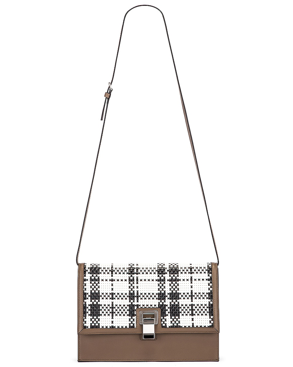 Image 6 of Proenza Schouler Plaid Lunch Bag in Optic White & Black