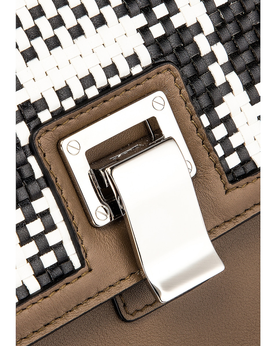 Image 8 of Proenza Schouler Plaid Lunch Bag in Optic White & Black
