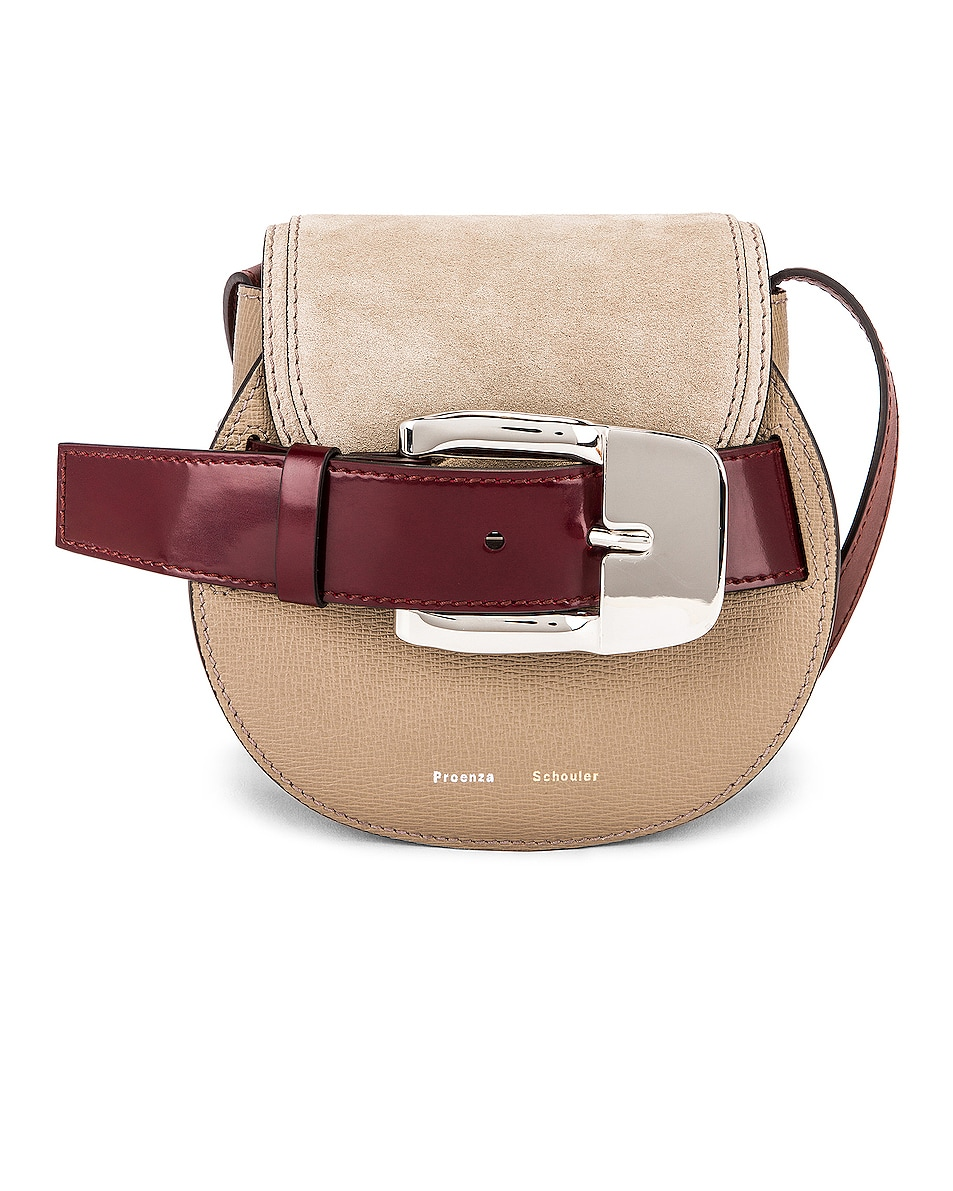 Image 1 of Proenza Schouler Mini Leather & Suede Buckle Crossbody Bag in Light Taupe