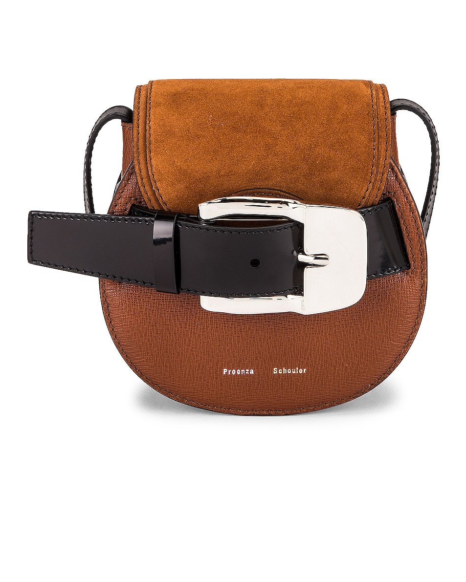 Image 1 of Proenza Schouler Mini Leather Buckle Crossbody Bag in Chocolate