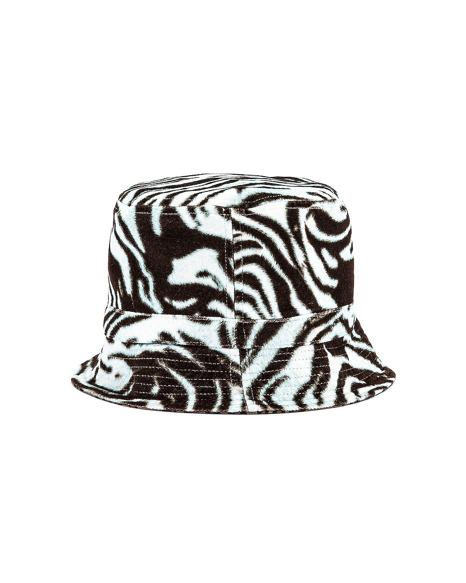 Image 1 of R13 Reversible Bucket Hat in Pale Blue Tiger & Leopard