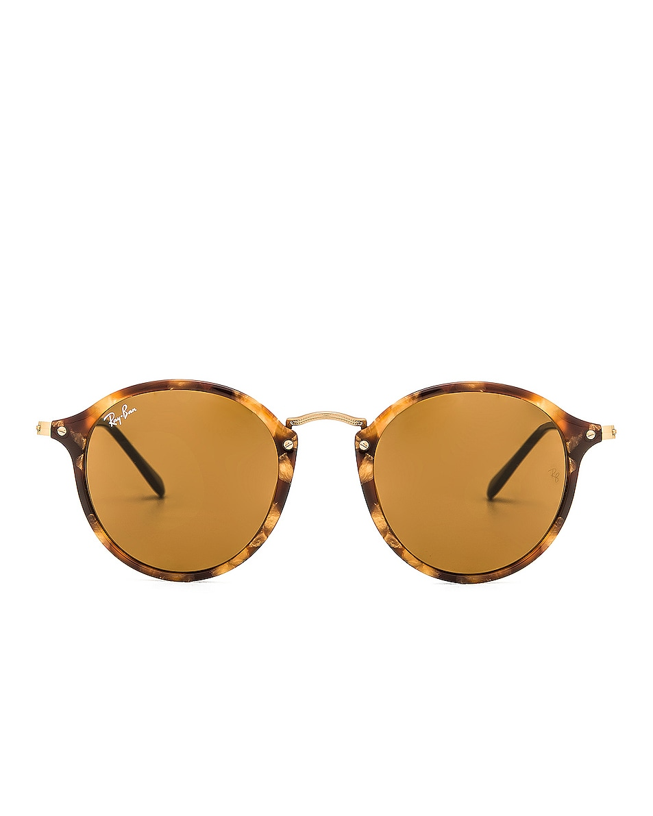 Image 1 of Ray-Ban Round Fleck Sunglasses in Tortoise & Brown Classic