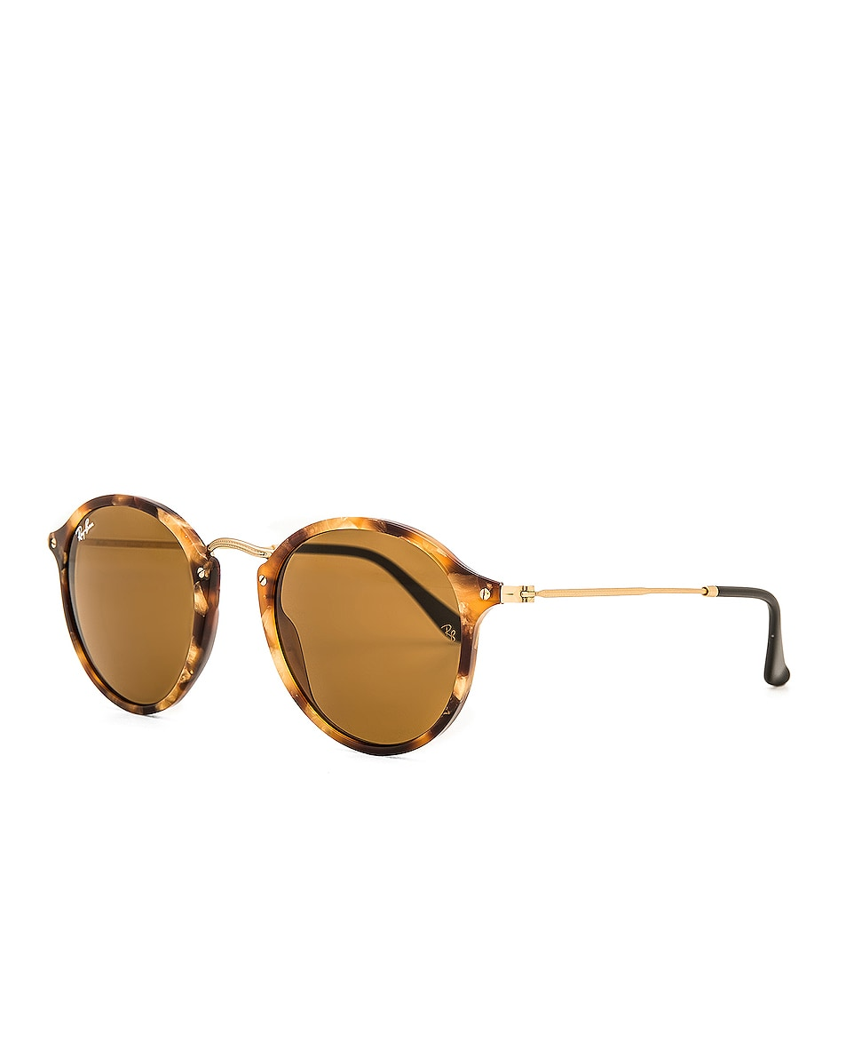 Image 2 of Ray-Ban Round Fleck Sunglasses in Tortoise & Brown Classic