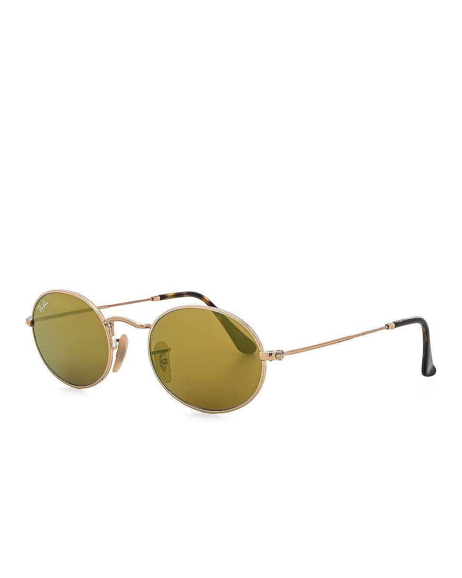 Image 2 of Ray-Ban Oval Flat Sunglasses in Gold Flash