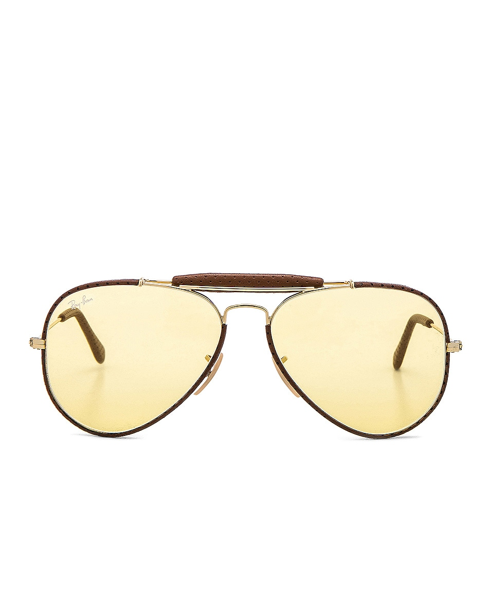 50e0bb5e0b Image 1 of Ray-Ban Aviator Craft Sunglasses in Brown Leather   Yellow