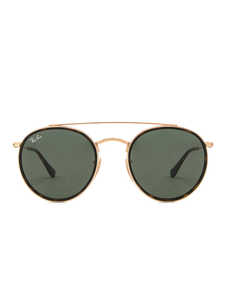 Image 1 of Ray-Ban Double Bridge Sunglasses in Gold & Green