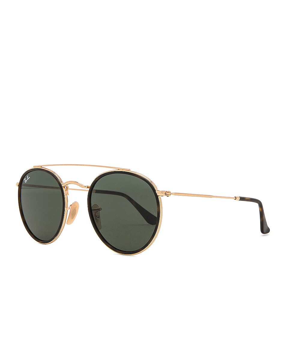 Image 2 of Ray-Ban Double Bridge Sunglasses in Gold & Green