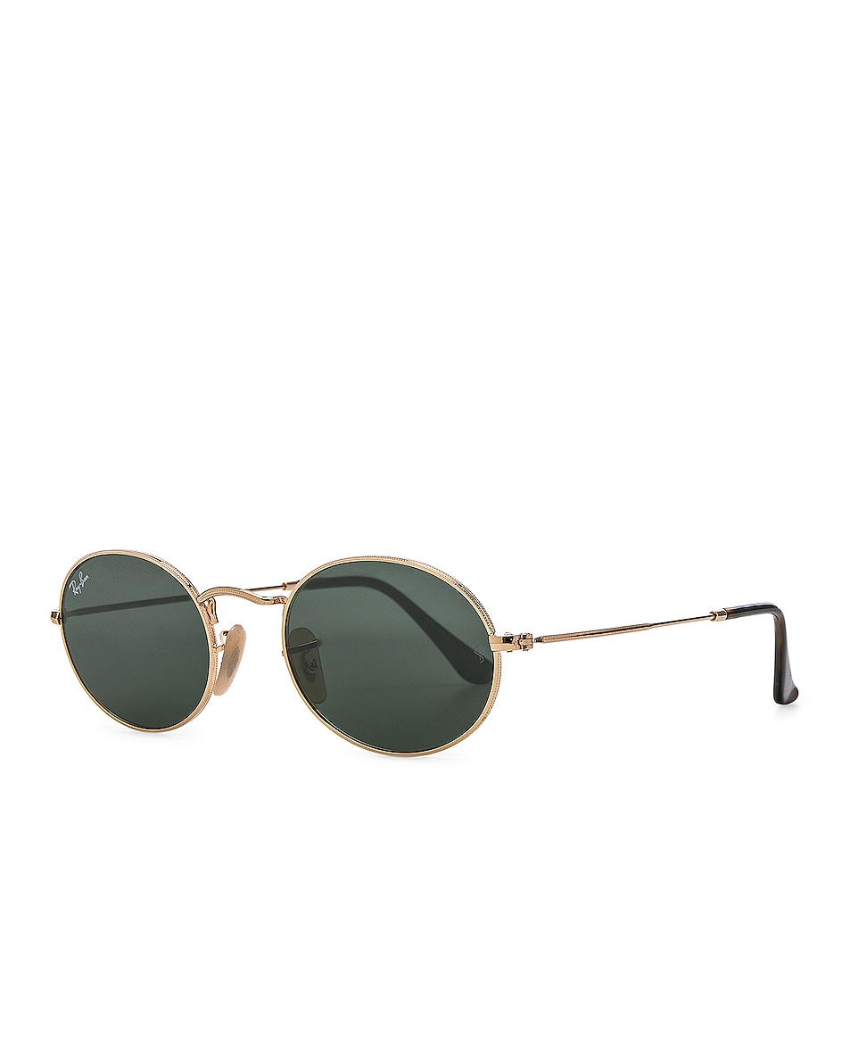 Image 2 of Ray-Ban Oval Flat Sunglasses in Gold & Green