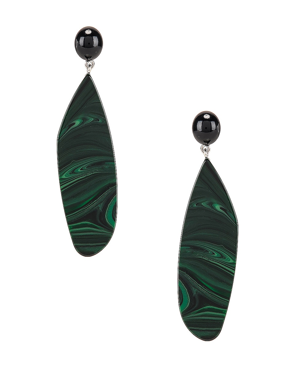 Image 1 of Rachel Comey Splitleap Earrings in Black Malachite