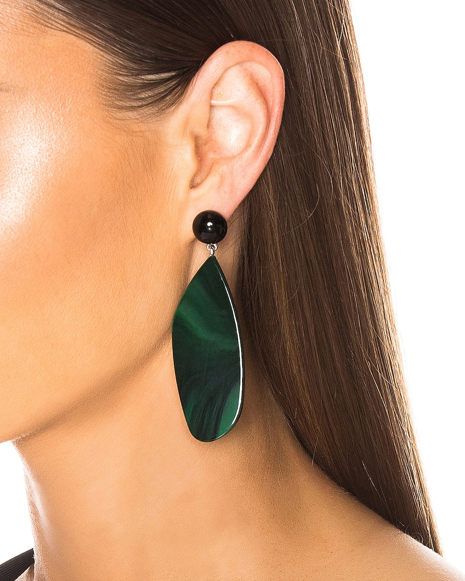 Image 2 of Rachel Comey Splitleap Earrings in Black Malachite