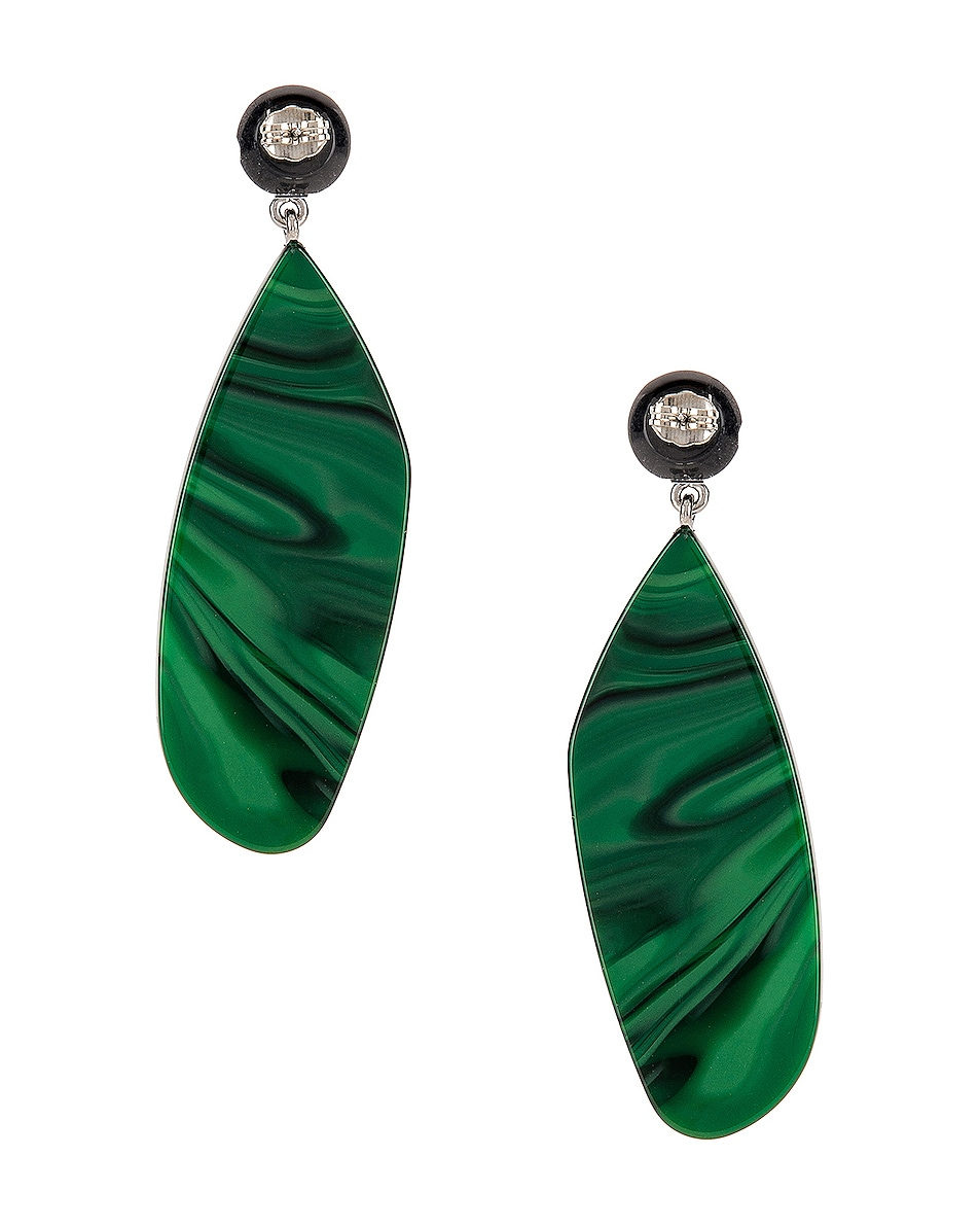 Image 4 of Rachel Comey Splitleap Earrings in Black Malachite
