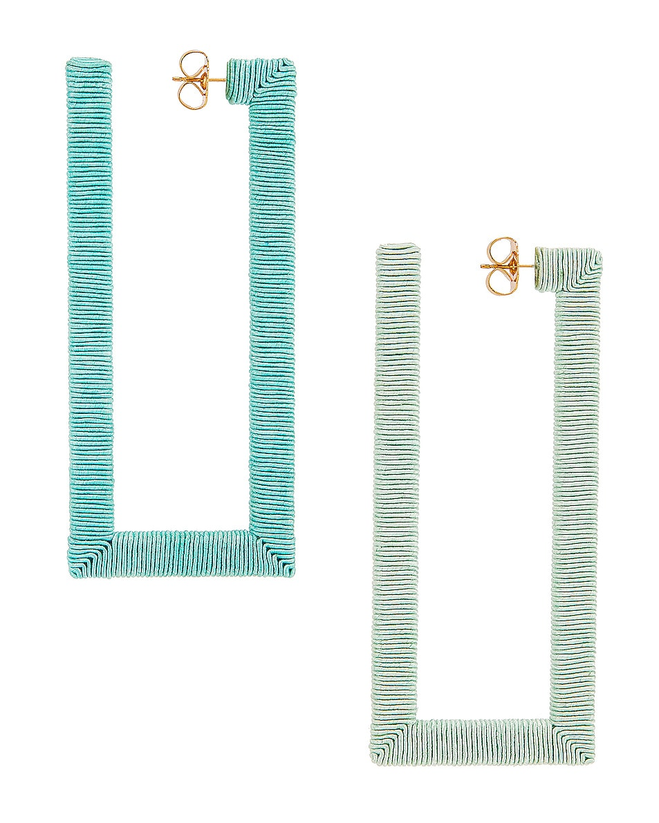 Image 4 of Rebecca De Ravenel Geo Hoop Earrings in Blue & Green