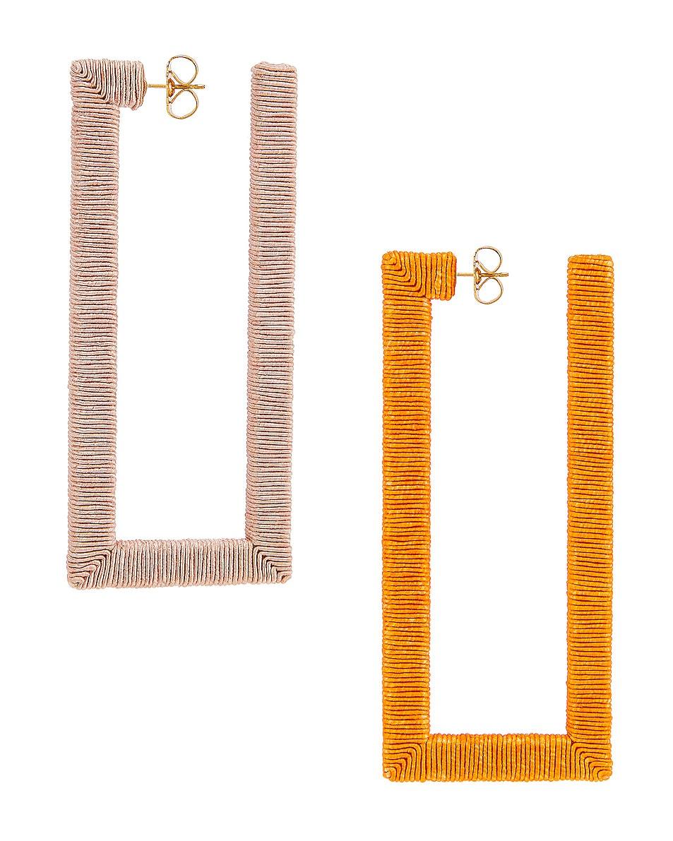 Image 1 of Rebecca De Ravenel Geo Hoop Earrings in Orange & Pink
