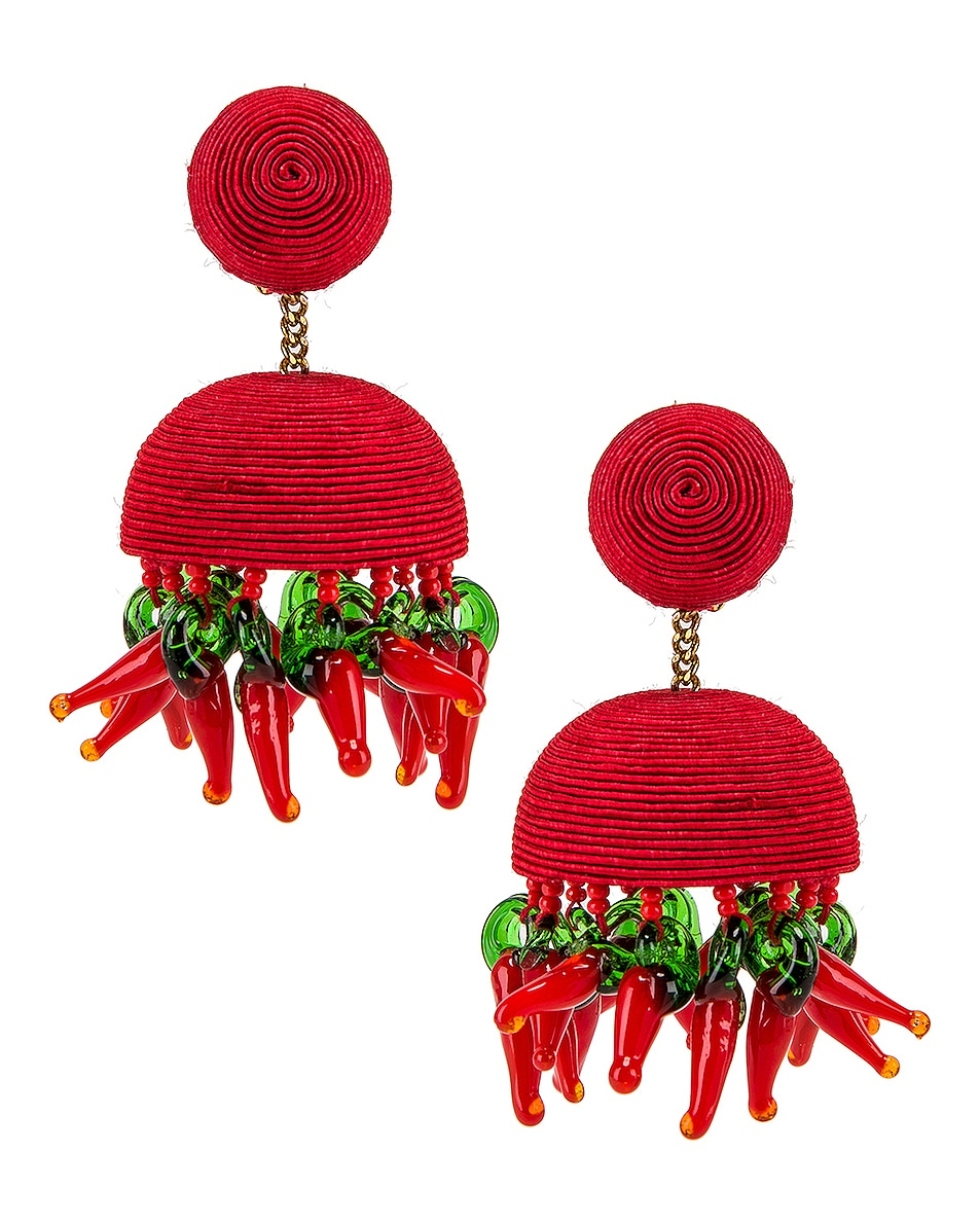 Image 1 of Rebecca De Ravenel Paprika Earrings in Red