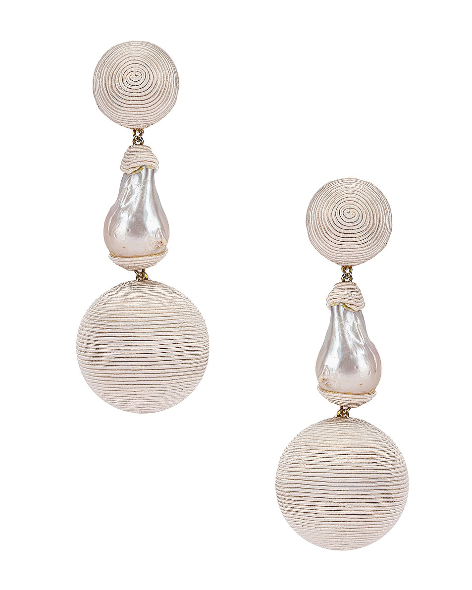 Image 1 of Rebecca De Ravenel Gem Bonbons Earrings in White & Pearl