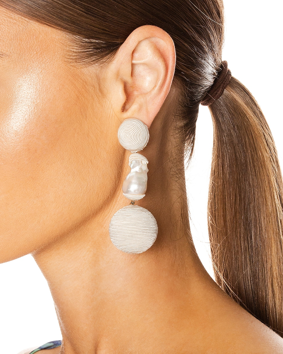 Image 2 of Rebecca De Ravenel Gem Bonbons Earrings in White & Pearl