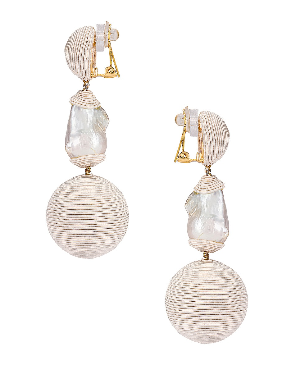 Image 3 of Rebecca De Ravenel Gem Bonbons Earrings in White & Pearl