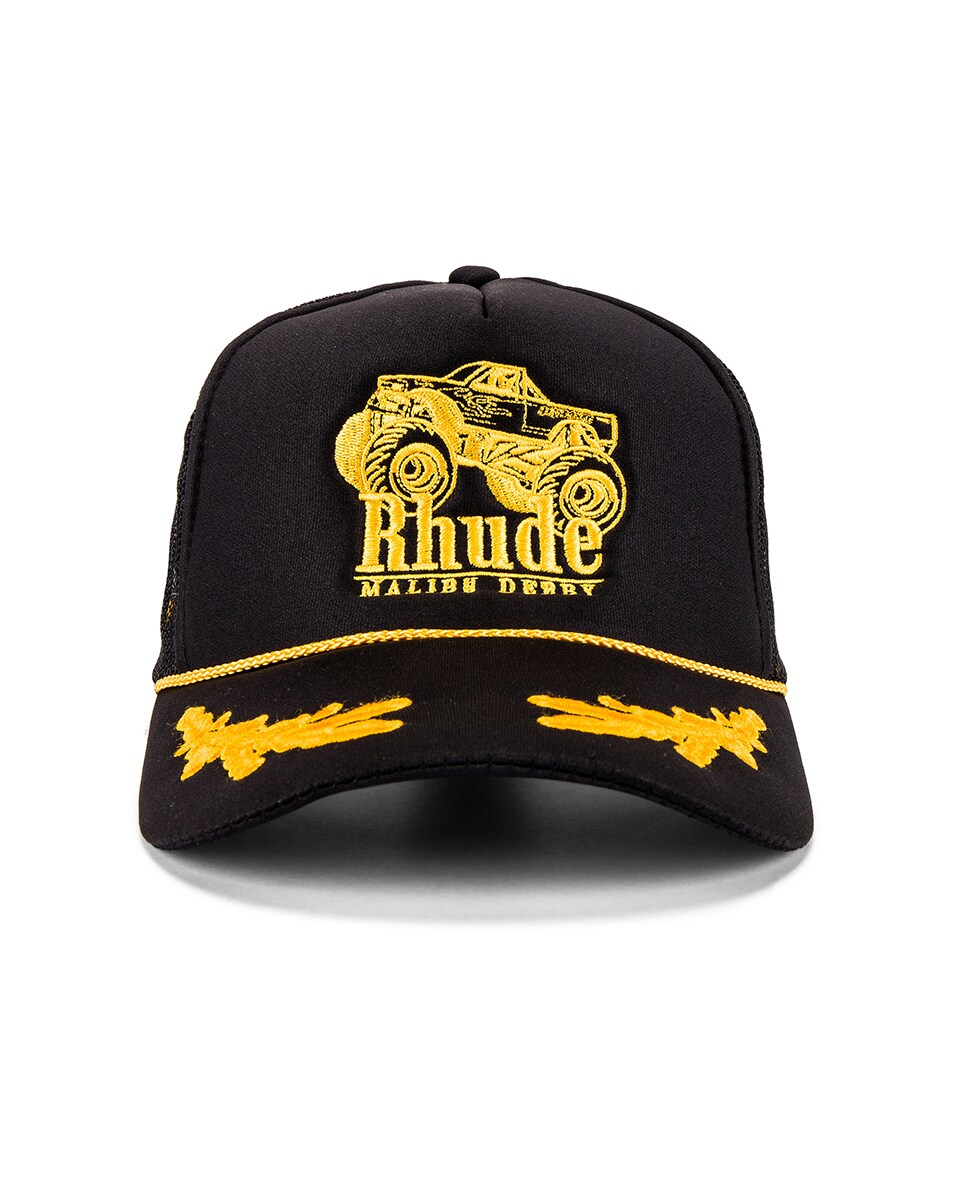 Image 1 of Rhude Malibu Derby Trucker in Black & Yellow