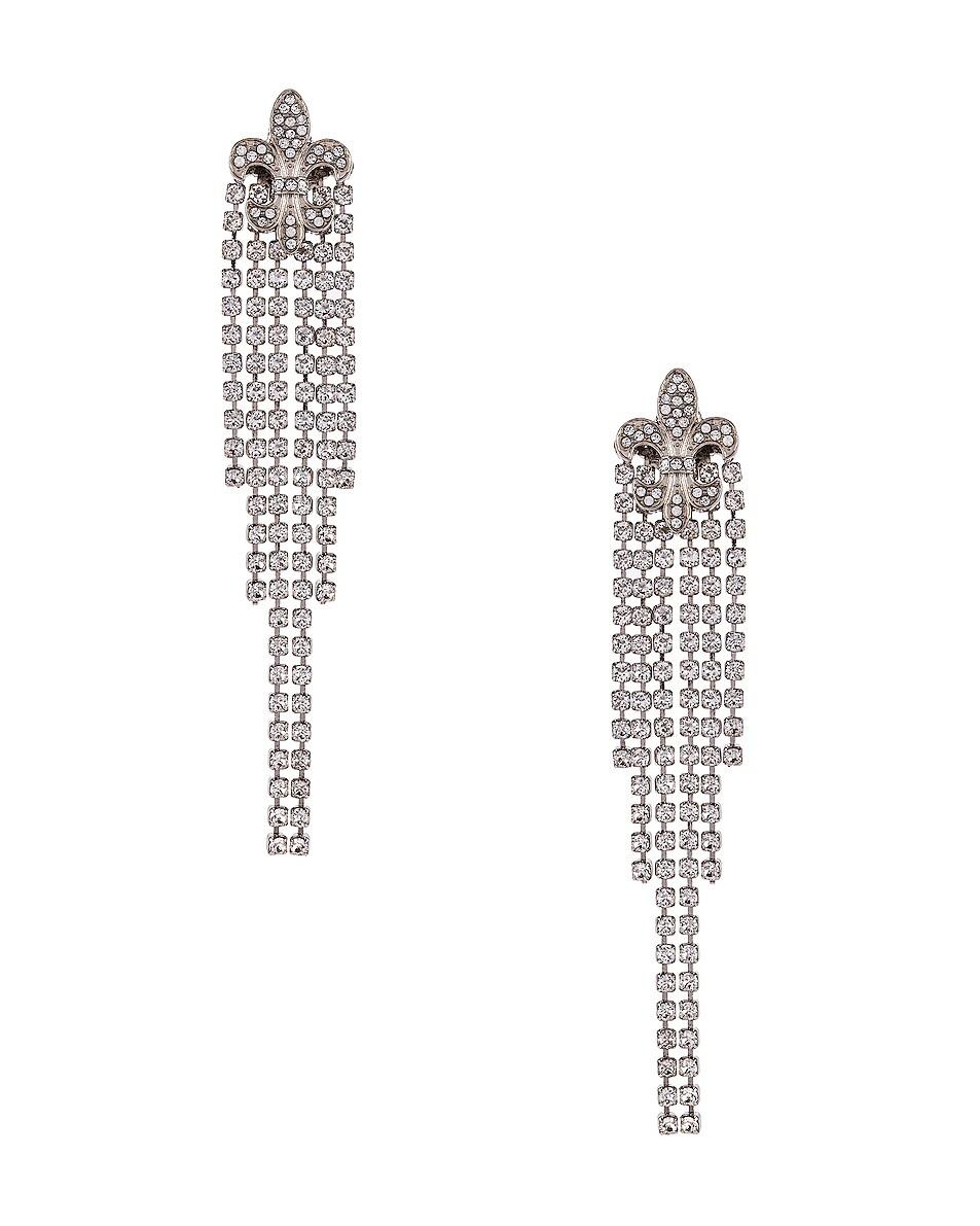 Image 1 of Redemption Fleur de Lis Crystal Earrings in Silver