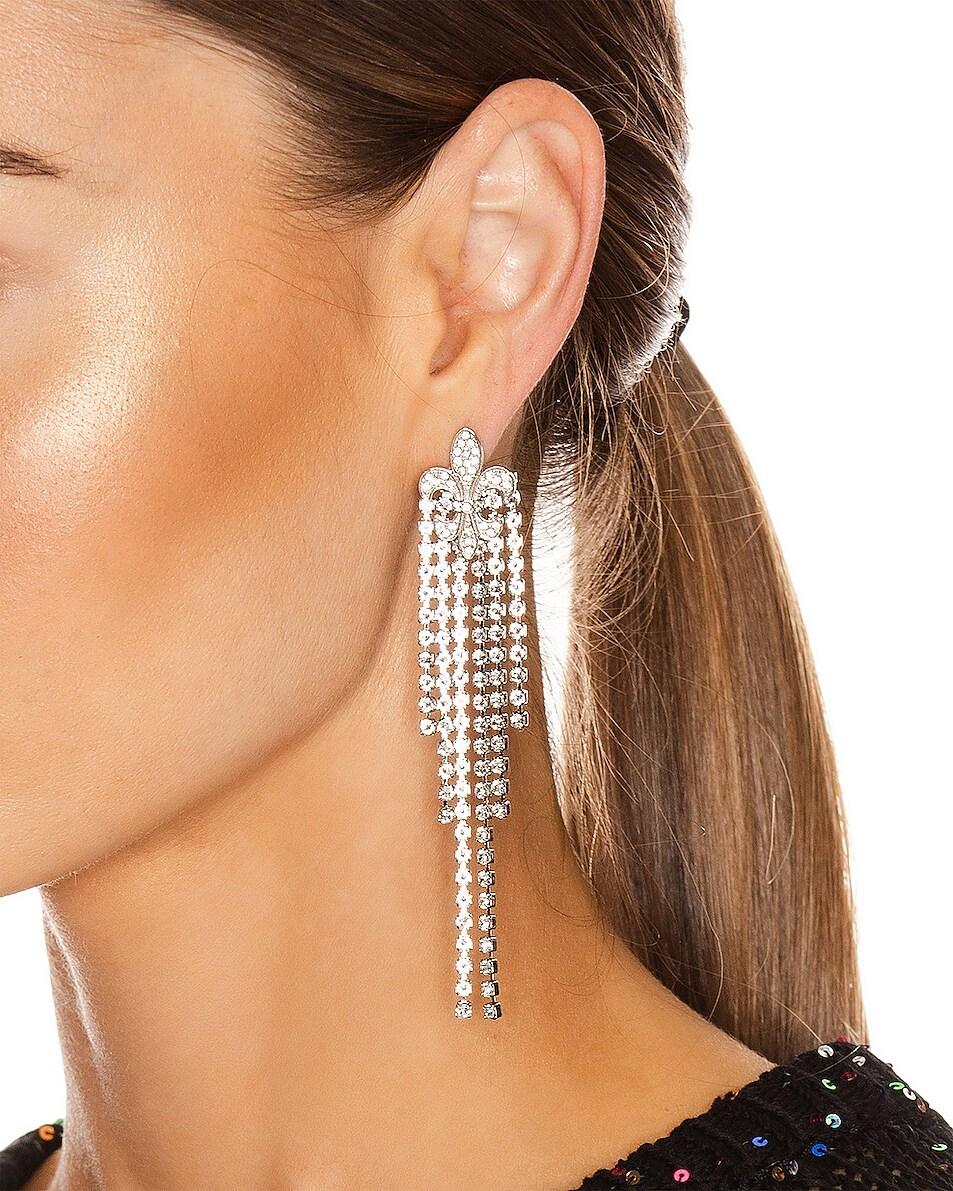 Image 2 of Redemption Fleur de Lis Crystal Earrings in Silver