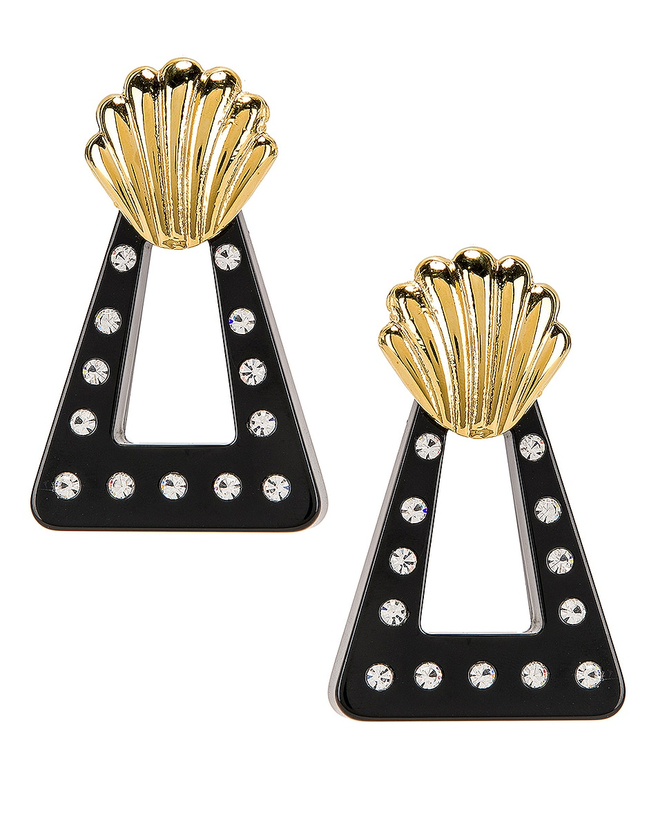 Image 1 of RIXO Helene Earrings in Gold, Black & Crystal Resin