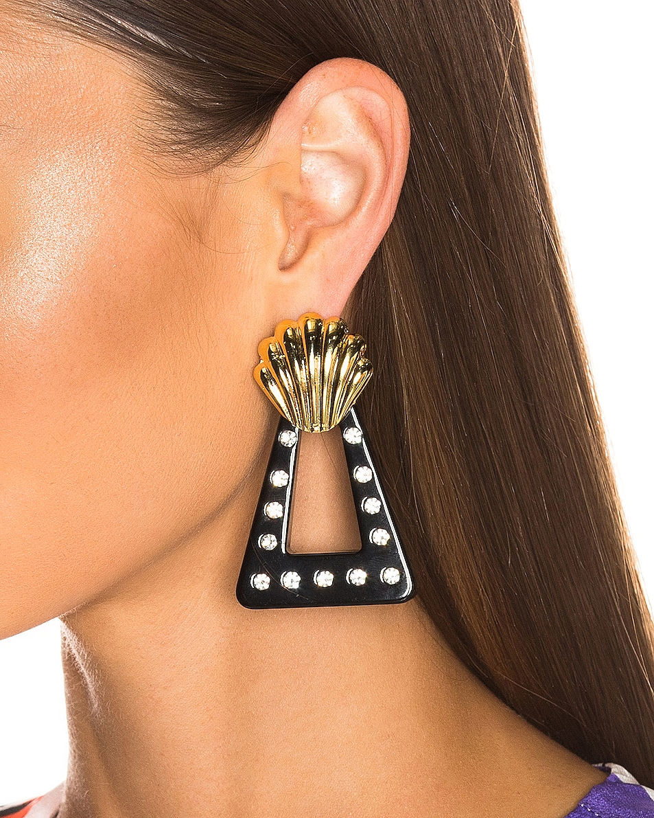 Image 2 of RIXO Helene Earrings in Gold, Black & Crystal Resin