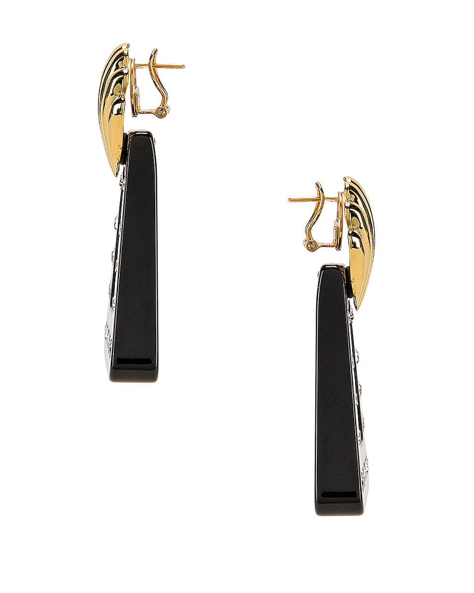 RIXO Helene Earrings Gold, Black & Crystal Resin chic