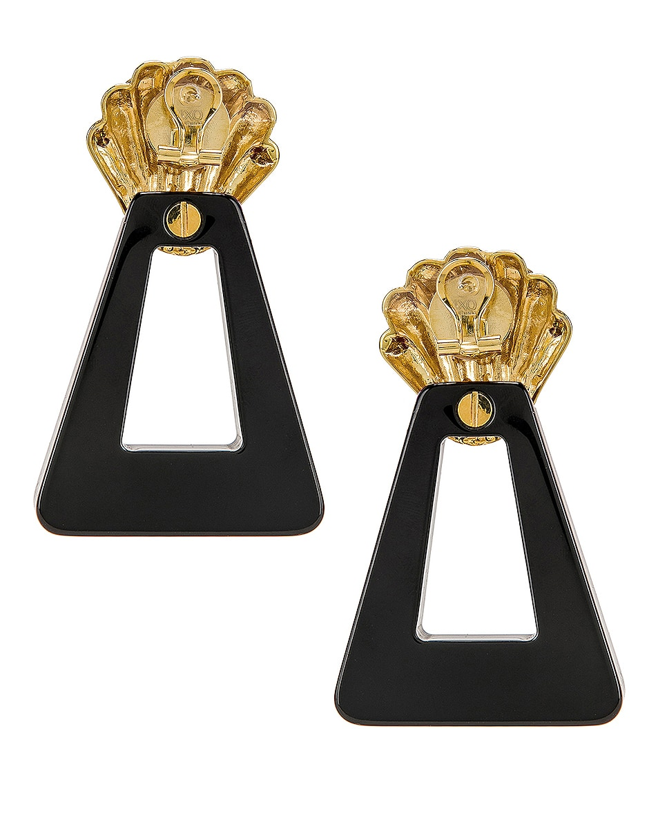 Image 4 of RIXO Helene Earrings in Gold, Black & Crystal Resin