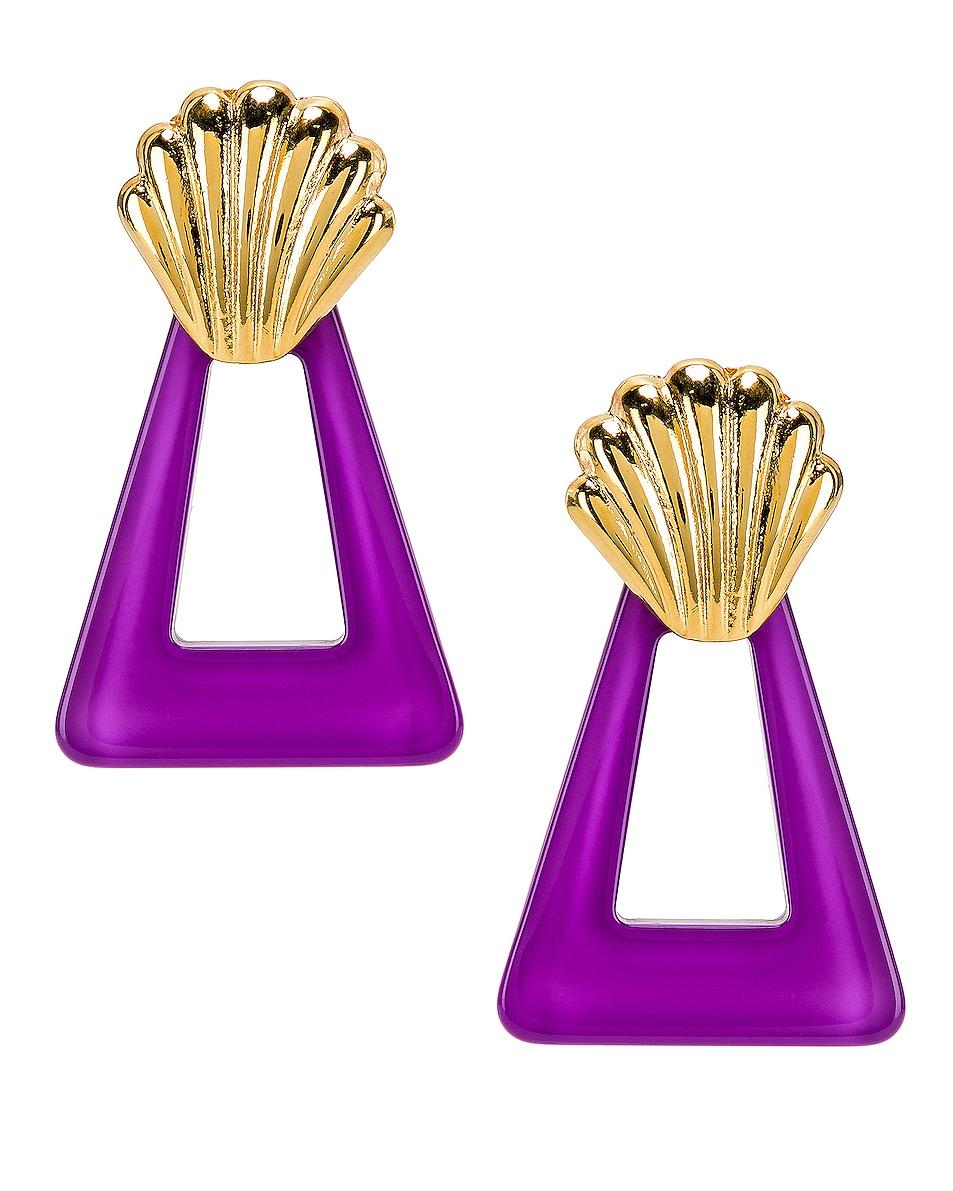 Image 1 of RIXO Helene Earrings in Gold & Lavender Resin