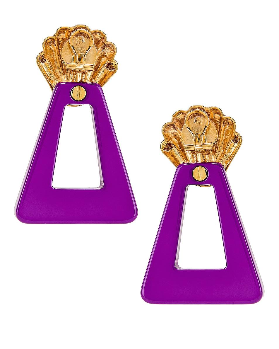 Image 4 of RIXO Helene Earrings in Gold & Lavender Resin