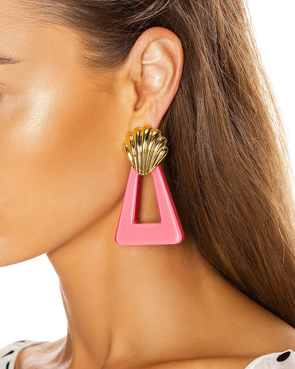 Image 2 of RIXO Helene Earrings in Gold & Fuchsia Resin