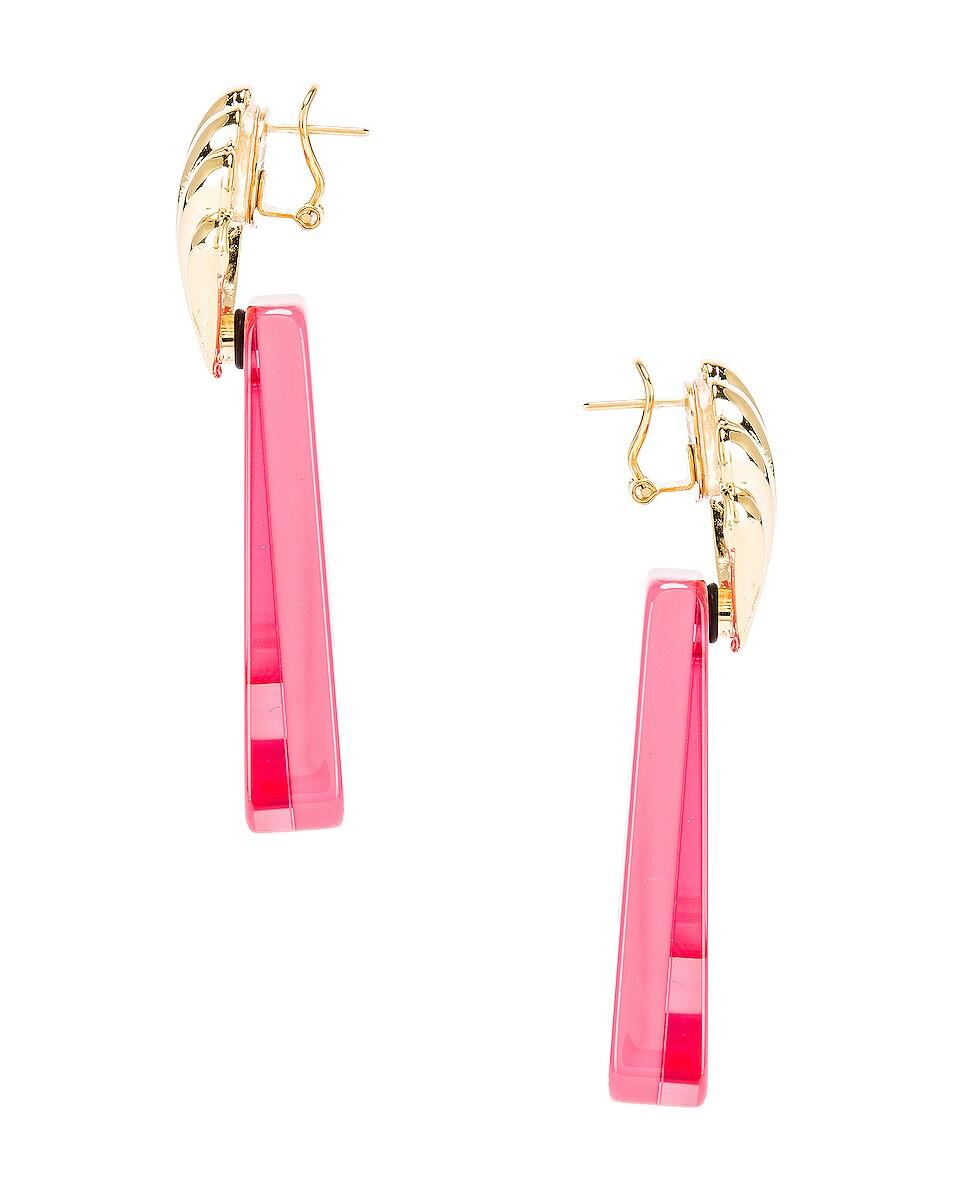 Image 3 of RIXO Helene Earrings in Gold & Fuchsia Resin