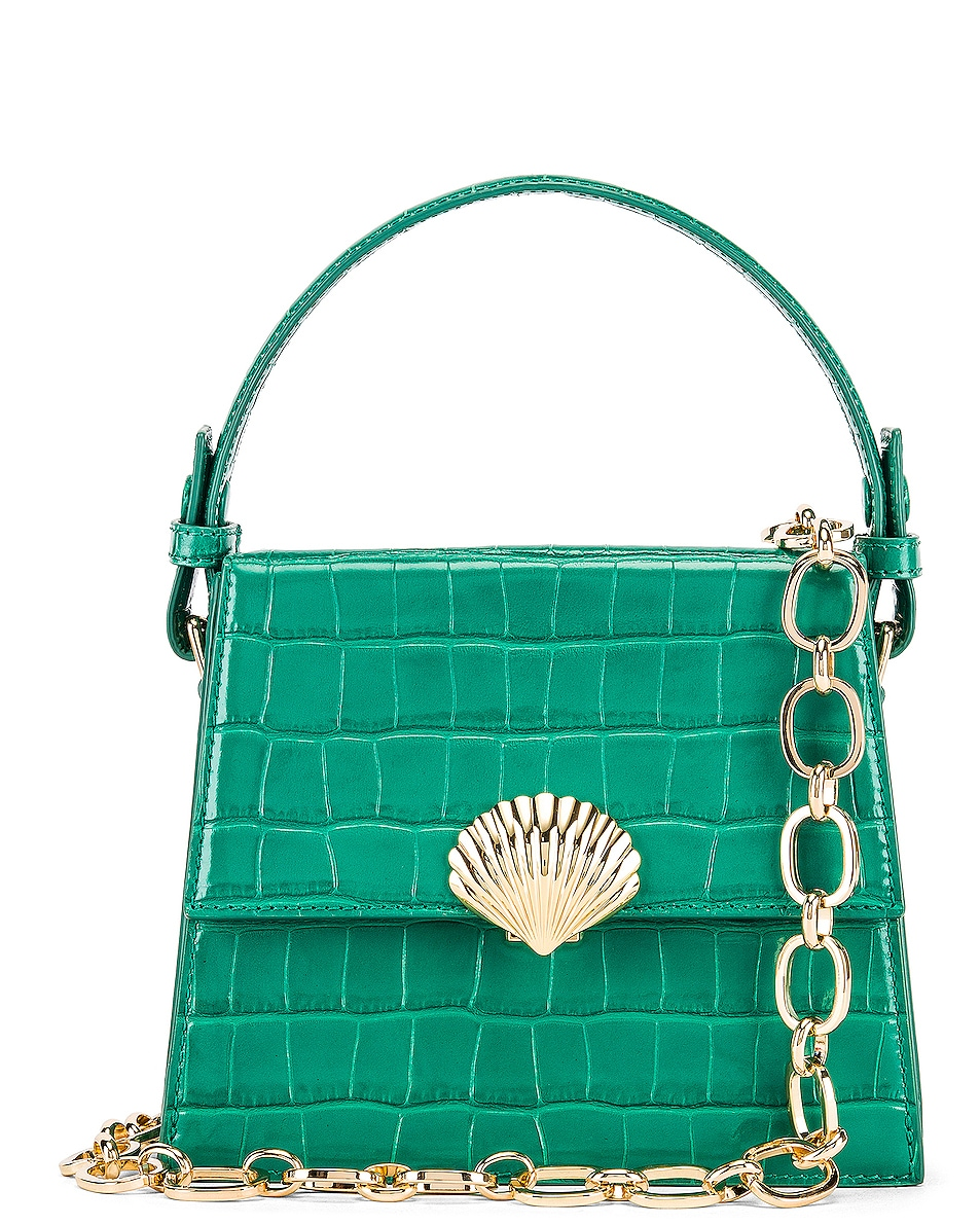 Image 1 of RIXO Jemima Bag in Emerald Croc Leather